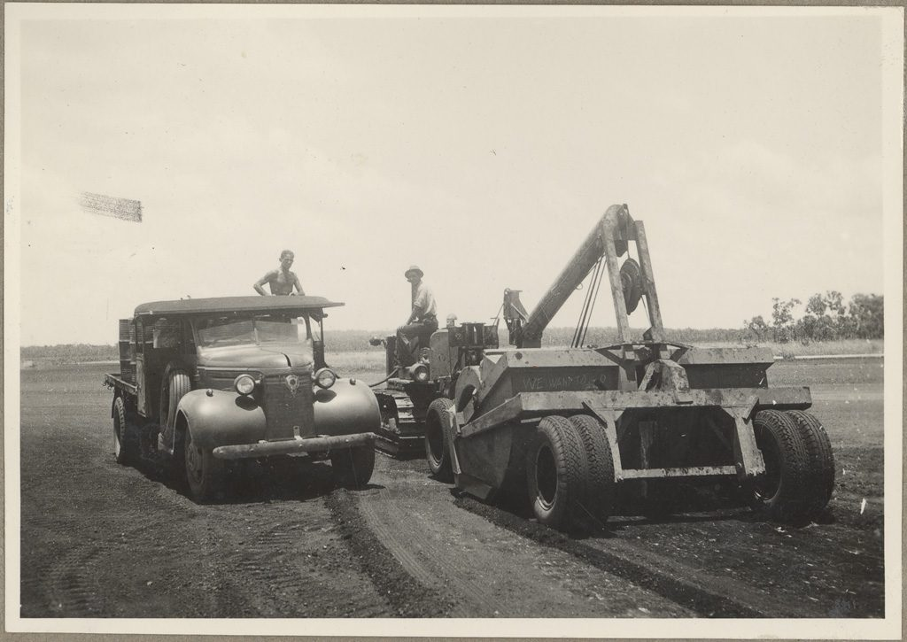 Motor Truck Servicing Tractor - Batchelor Aerodrome, Northern Territory, Ca 1941. State Archives New South Wales.