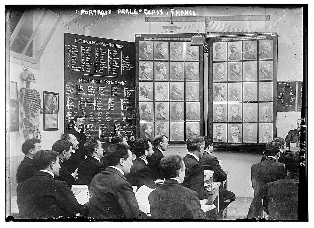 Class studying the Bertillon method of criminal identification, ca. 1910-1915, France