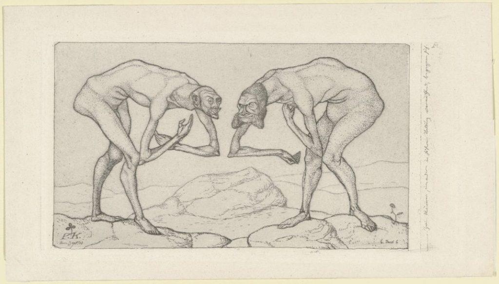 Zwei Männer, einander in höherer Stellung vermutend, begegnen sich, by Paul Klee.