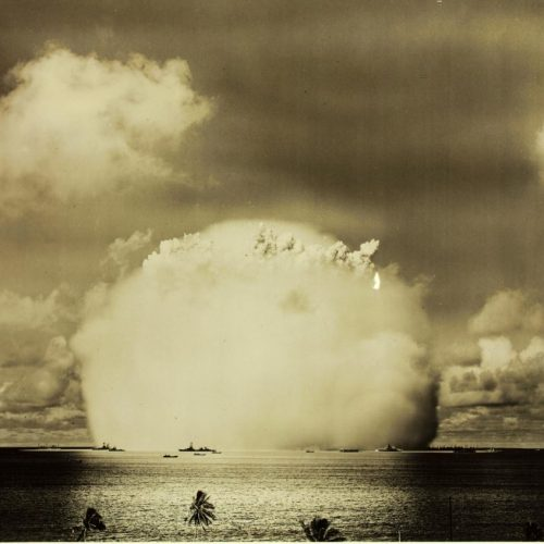 Atomic Bomb Test, Bikini Island, 1946. San Diego Air and Space Museum Archive.