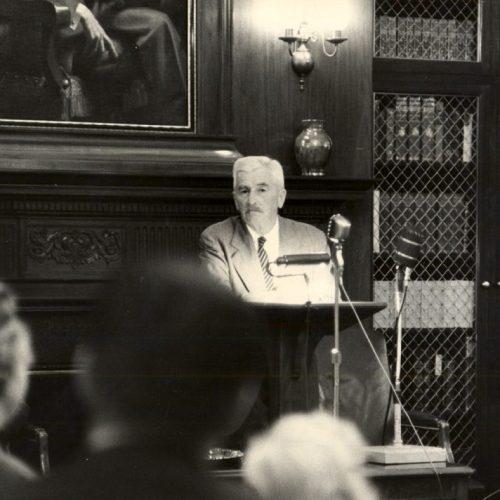 William Faulkner reading University of Virginia, 1957. Unattributed.