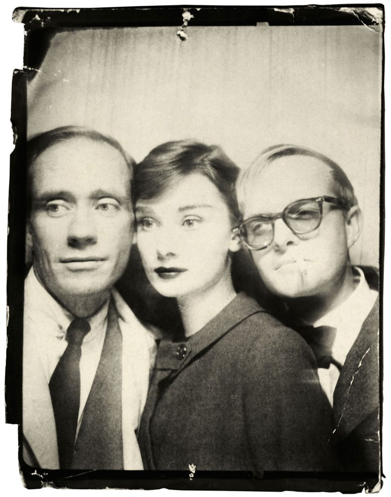 Photomatic Photograph Of Mel Ferrer, Audrey Hepburn, and Truman Capote, 1957. By Richard Avedon.