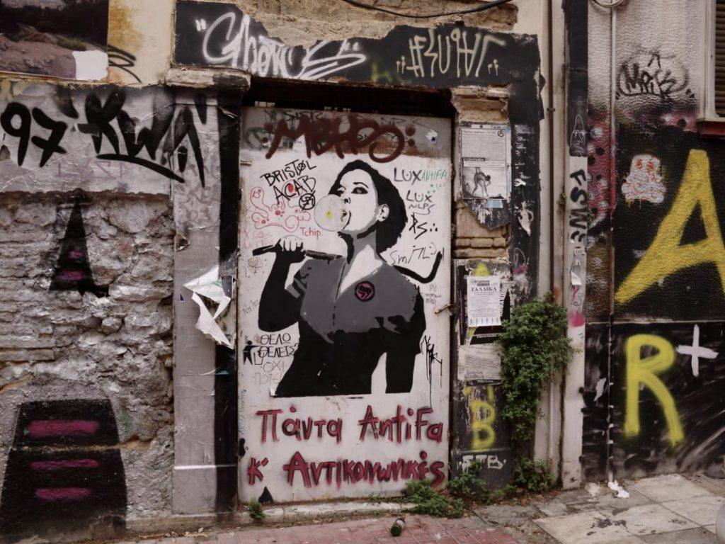 Exarcheia, barrio anarquista en Atenas, Grecia.