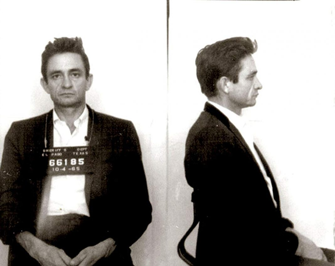 Johnny Cash mugshot, El Paso, Texas, 1965.