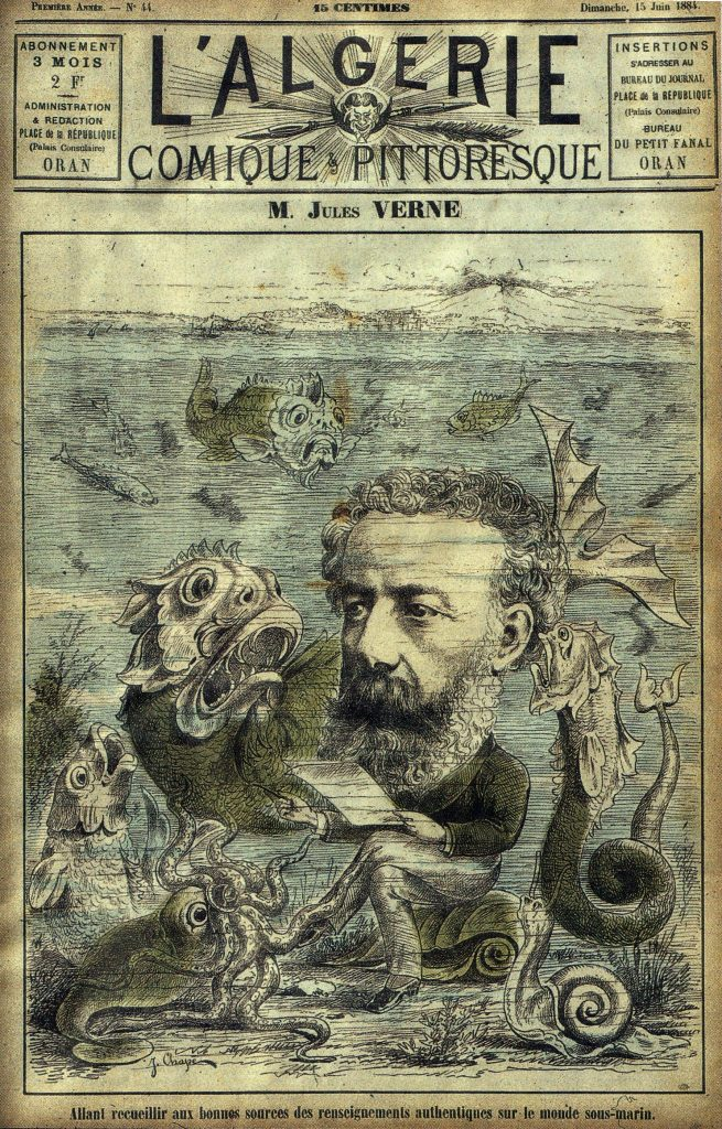 "Jules Verne, Cover of ""L'Algerie"" Magazine, 15 June 1884. Artist signature seems to read ""J. Chape"""