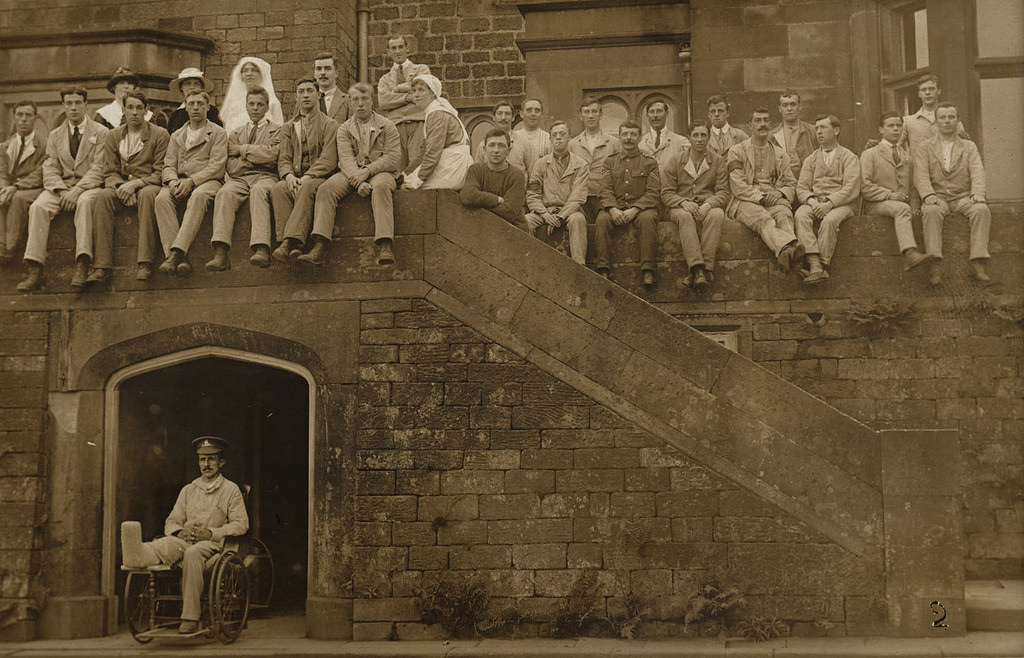 A Group Portrait at Longshaw Lodge Convalescent Home for Wounded Soldiers, between August 1916 and June 1917. Unattributed. Tyne & Wear Archives & Museums collection.