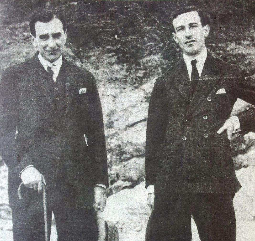 Vicente Huidobro y Gerardo Diego en 1922. Sin Atribución.