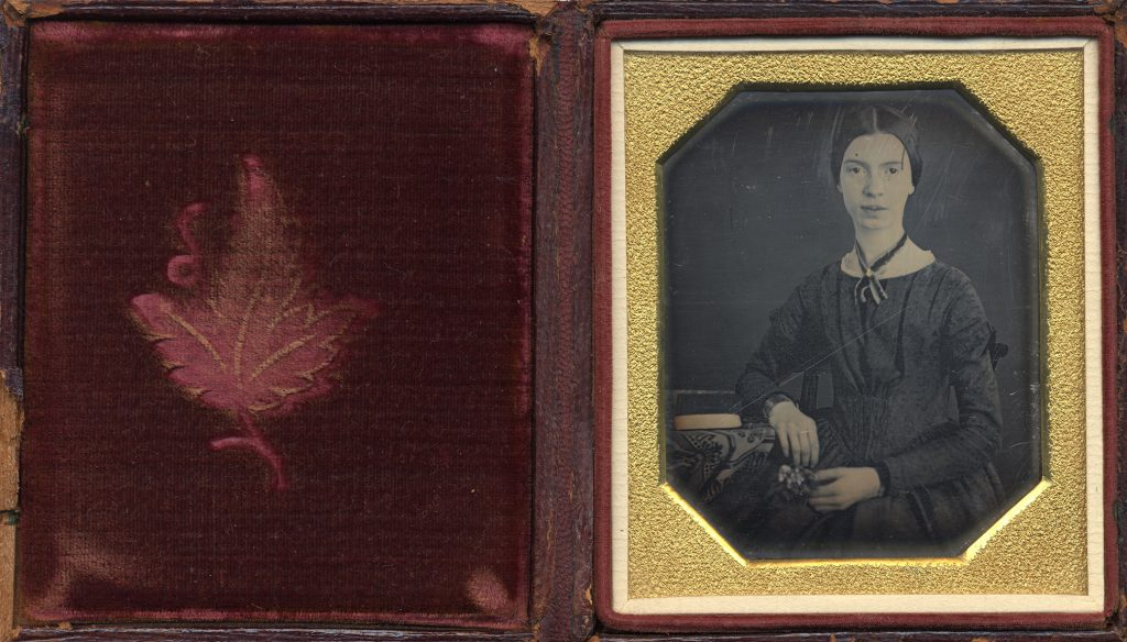 Emily Dickinson Daguerreotype and embroidered leaf. Ca. 1847.