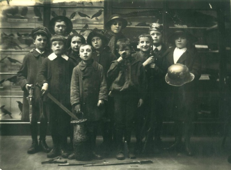 Children from Sunderland's School for the Blind with a selection of war souvenirs